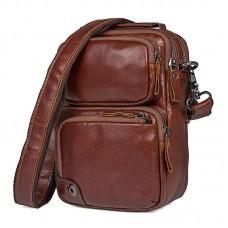 Коричневая мужская кожаная сумка GMD 1010B