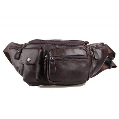 Кожаная мужская сумка на пояс GMD 7210C