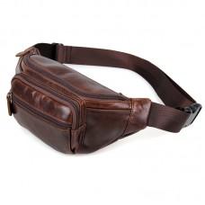 Кожаная коричневая сумка на пояс GMD 7218C