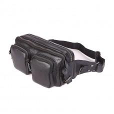 Кожаная черная сумка на пояс GMD 7352A