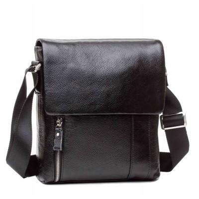 Черная сумка мужская через плечо. мессенджер TIDING BAG M1001-1A